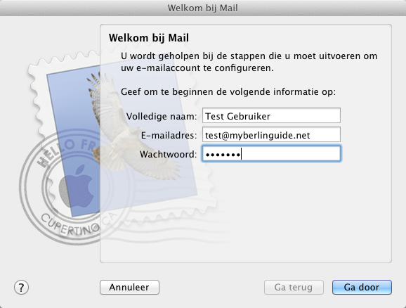 Apple Mail. Wizard - Stap 1.
