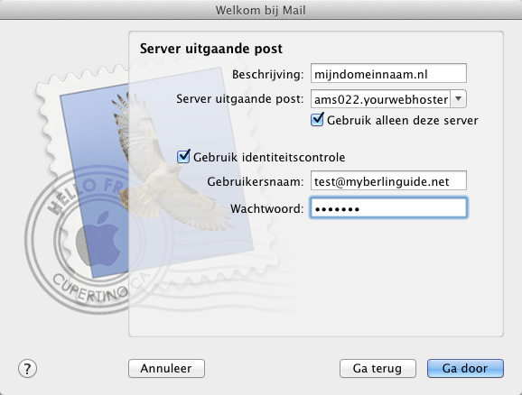 Apple Mail. Wizard - Stap 3.