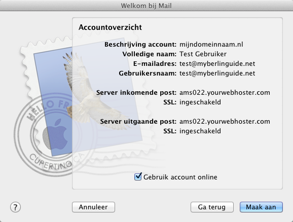 Apple Mail. Wizard - Stap 4.
