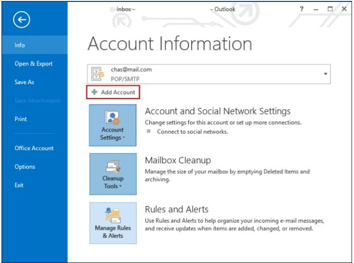 Outlook 2013. Afbeelding 1.